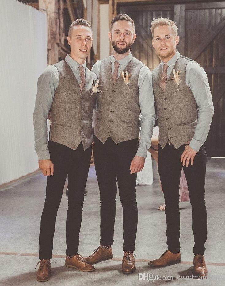 Vendita calda grigia di alta qualità di tweed di lana gilet per i cerimonia nuziale della Plus Size vestito convenzionale dello sposo della maglia Slim Fit Gilet For Men