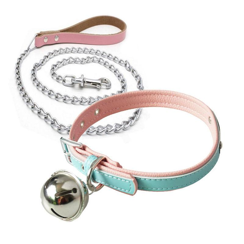 Adult Games Bells Neck Collar And Leash Chain Bondage Restraints Leather Harness Bdsm Collar Fetish Wear Sex Toys For Woman Y19052902