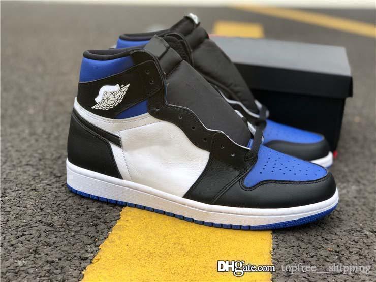 Новое Air Аутентичный 1 High OG Retro Game Royal Баскетбольной обуви Черный Toe Мужчины Спорт Кроссовки с коробкой