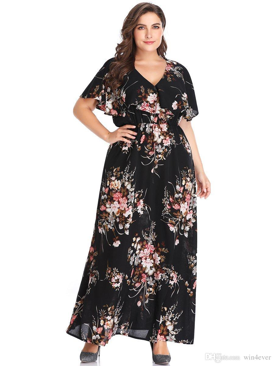 Elastic Waist Plus Size Floral Printed Maxi Dress Short Cape Sleeve Woman  Summer V Neck Floor Length Dress Long Sleeve White And Gold Dress Women ...