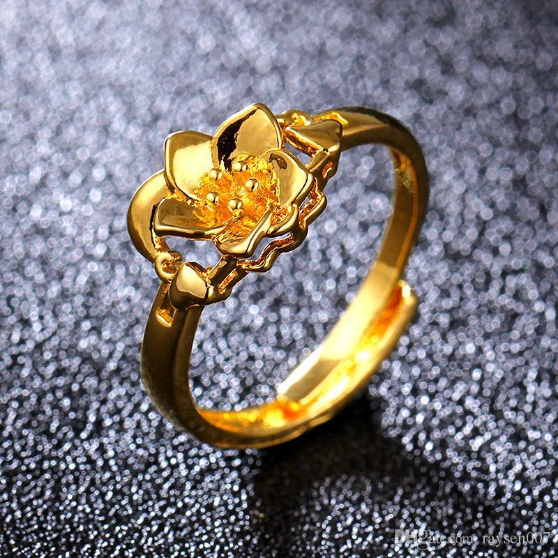 Fashion 18KGP Imitation Gold Ring Gold Flower Ring Hand Washing without the Metal Non-Fading Series INS Fashion Jewelry