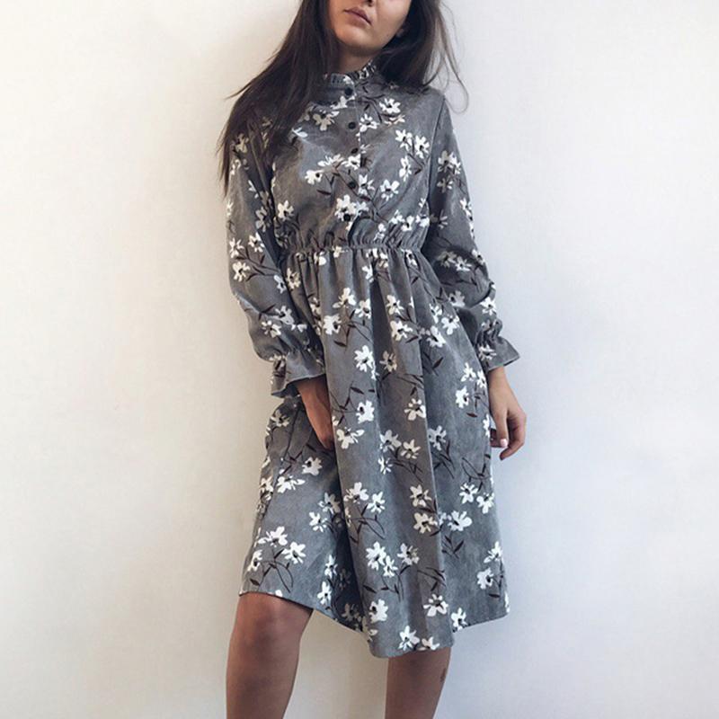 Lady imprimé floral Robe chemise en velours côtelé épais Robe d'hiver Femme Automne Robes Vintage Casual à manches longues Robes Femme A-ligne