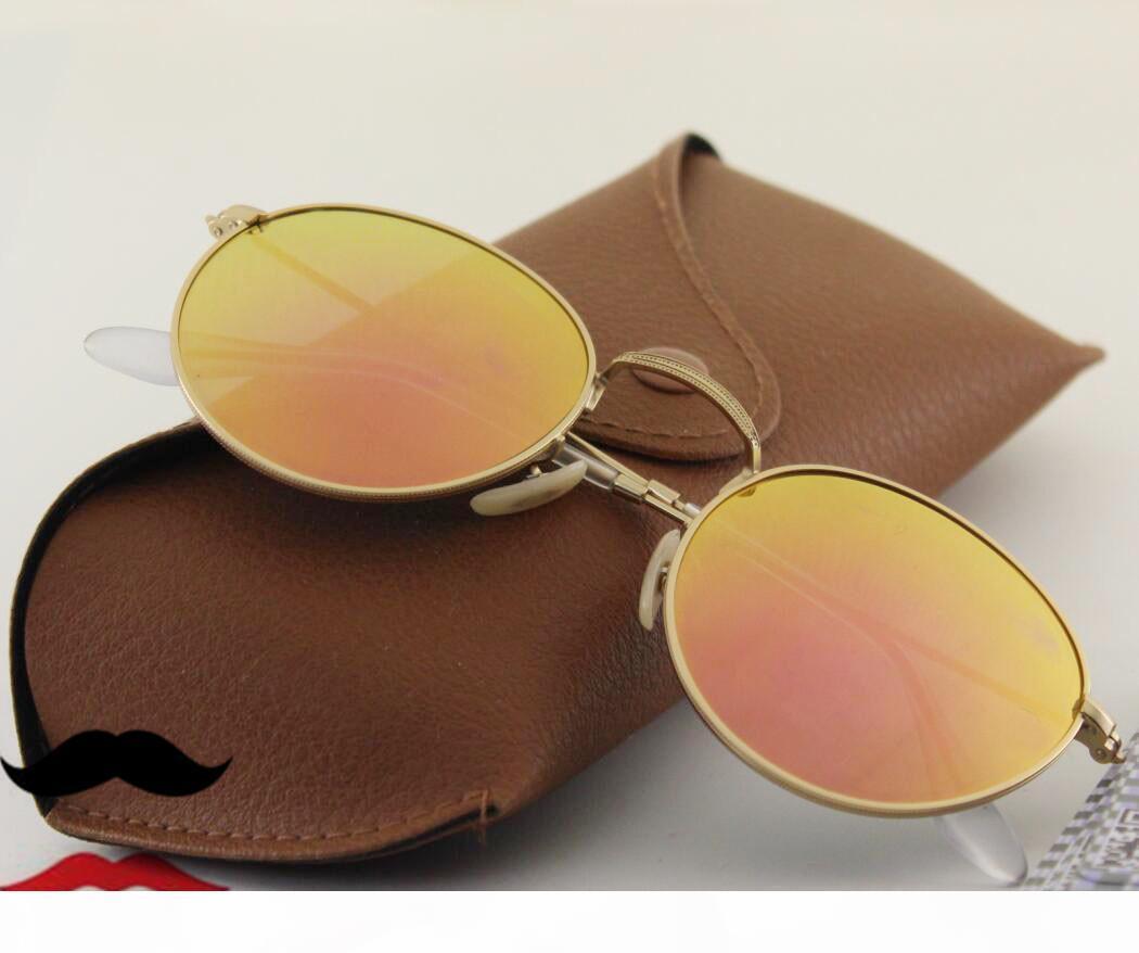 Las mejores mujeres populares colorido recubrimiento de lentes de espejo flash de metal redondo, 9 de color naranja reflexión 50mm ocio gafas de sol rosa vacaciones de compras