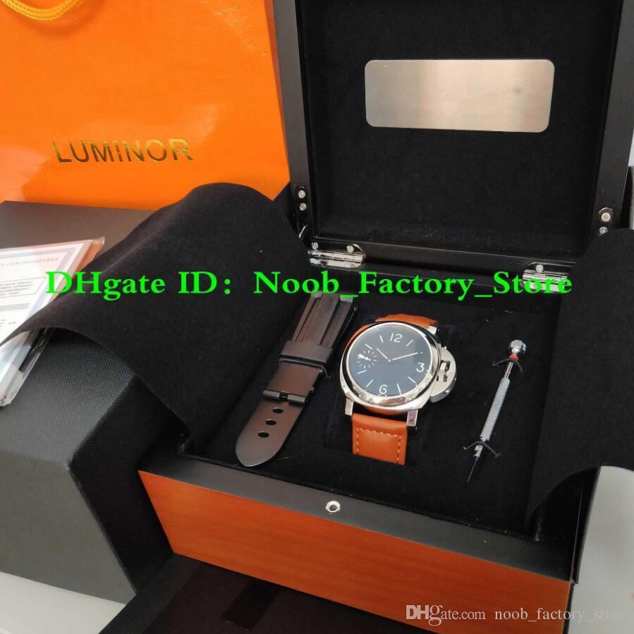 Factory New Shoot WATCH 44mm Black Face Brown Strap Super P 111 Movimento meccanico a carica manuale Orologi moda uomo con scatola Origina