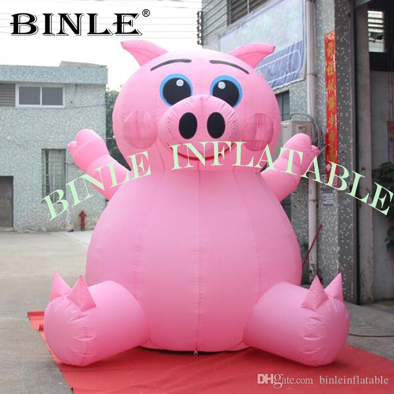 Hot sale sitting giant inflatable pink pig with blower outdoor decor animal cartoon flying pig for advertising