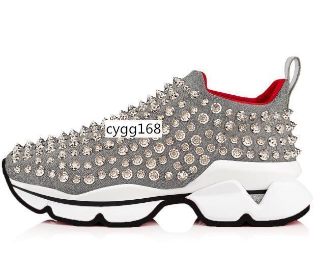 marca candente inferior del punto del calcetín zapatillas de deporte, la planta del pie Pisos con Krystal Spikes, 30mm Negro Blanco Donna Pisos para hombres de las mujeres