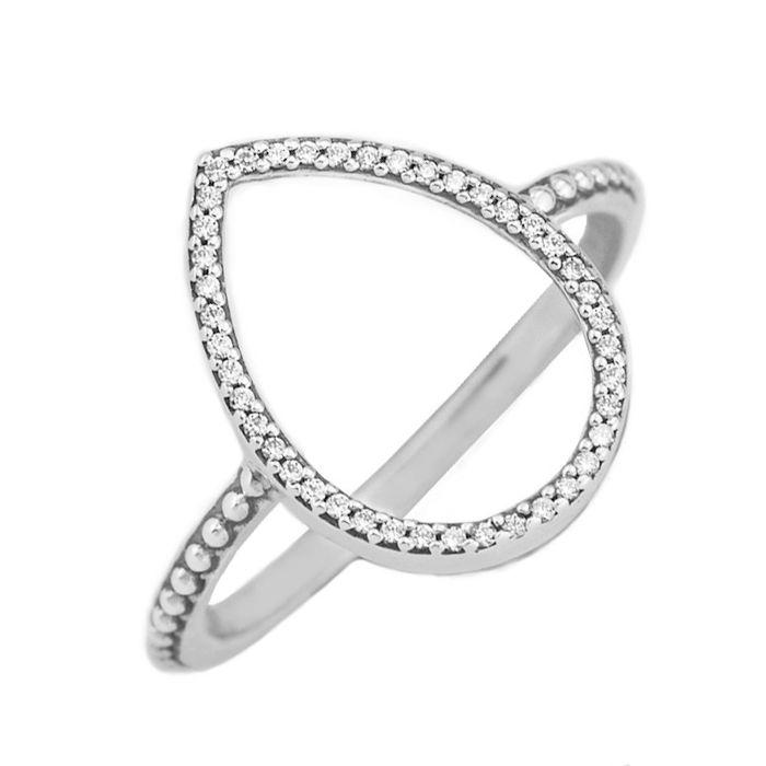 corazón amor mayor-barato anillos 50 S925 ataques de plata para la pulsera estilo pandora de la lágrima de la silueta del anillo 196253CZ H8ale