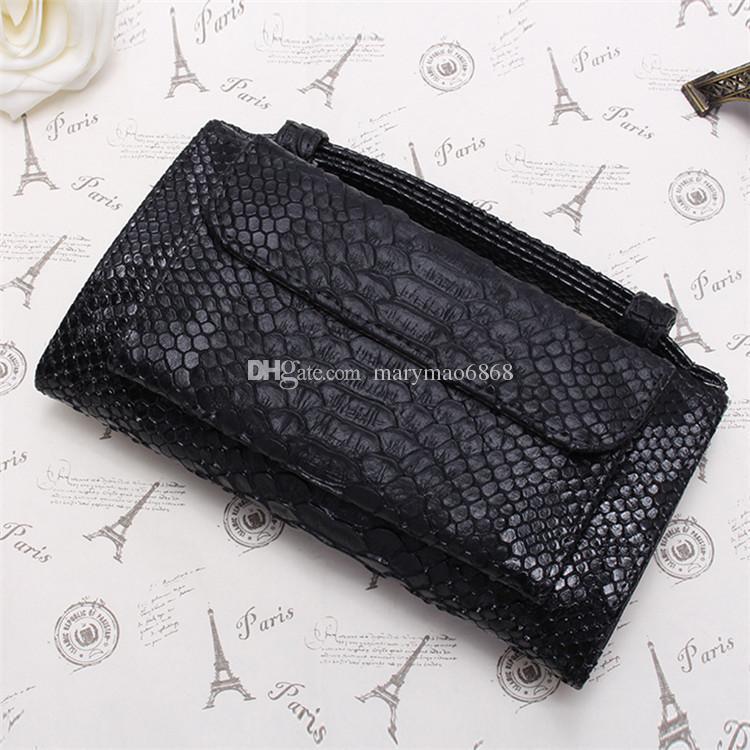 Wholesale Fashion New Designer Women Cross Body Bag Cowhide Leather Chain Clutch Shoulder Bag Serpentine Pattern Small Messenger Flap purse