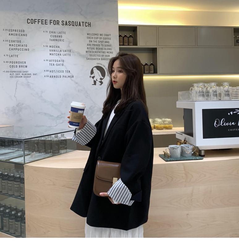 2020 новый корейский черный маленький пиджак женский весенне-осенний свободный повседневный длинный костюм женские блейзеры и куртки плюс размер