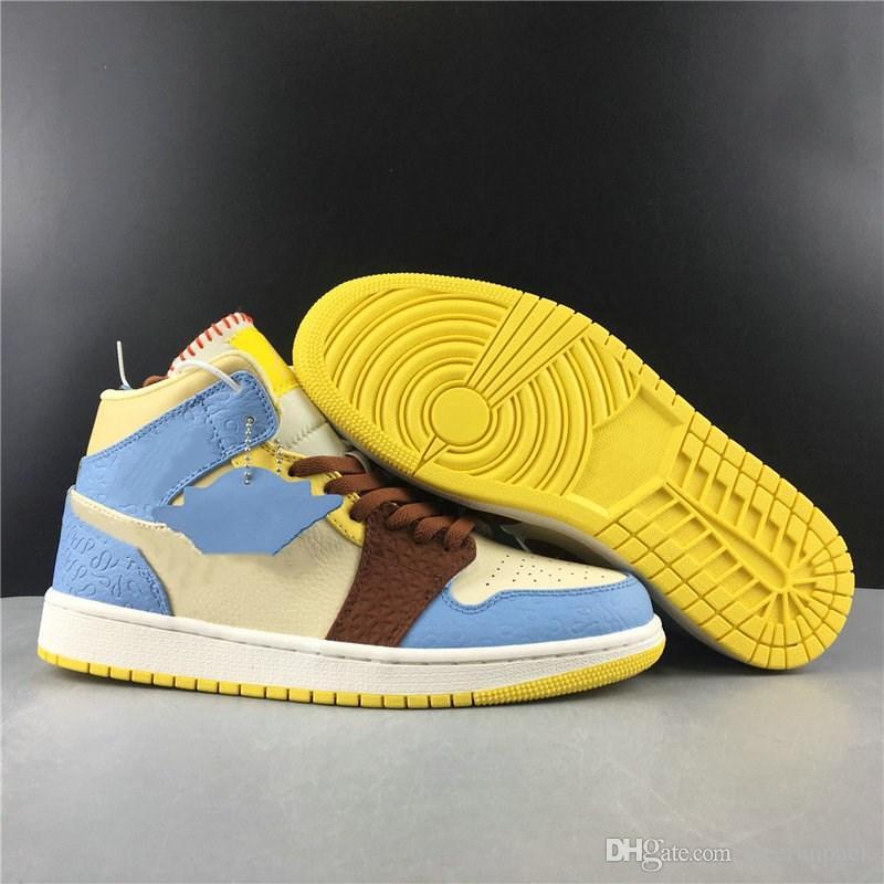 Yeni Özel 1 Orta GD Korkusuz Maison Chateau Rouge Basketbol Tasarımcı Ayakkabı Vanilya Tarçın Moda Chaussures Eğitmenler İyi Kalite Pale