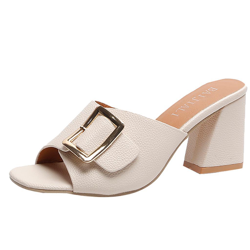 Design Ladies Slippers Peep Toe High