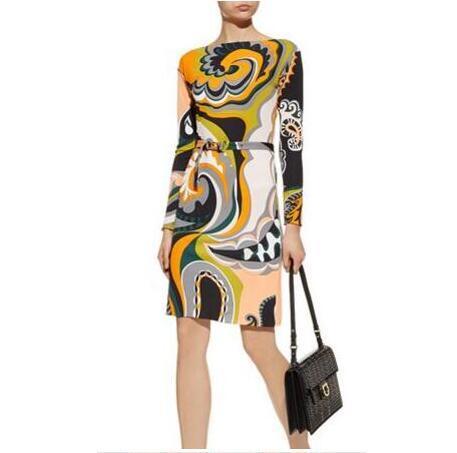 2019 New 2020 Fashion Designer Brand Xl Xxl Dress Women S 3 4 Sleeves Geometry Printed Stretch Jersey Silk Dress From Wanglei2169 60 31 Dhgate Com