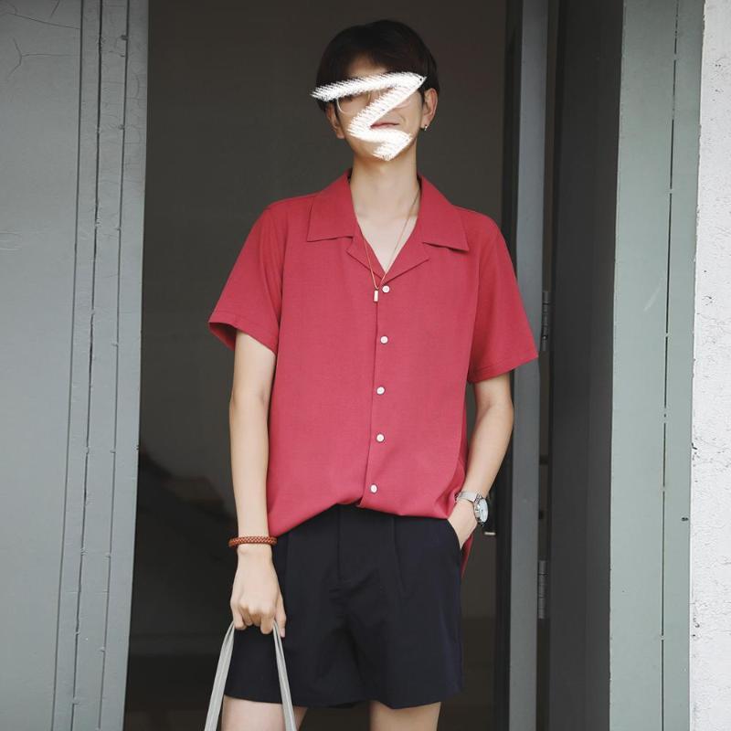 2020 gelo retro camisa coreana casuais solta de manga curta de lapela dos homens cor sólida de homens de seda de verão ins maré camisa coreana