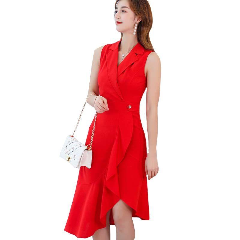 robes de femmes Boutique 2019 nouvelles dames robe minceur mince occasionnels coréenne printemps été moyenne à grande taille longue robe femme