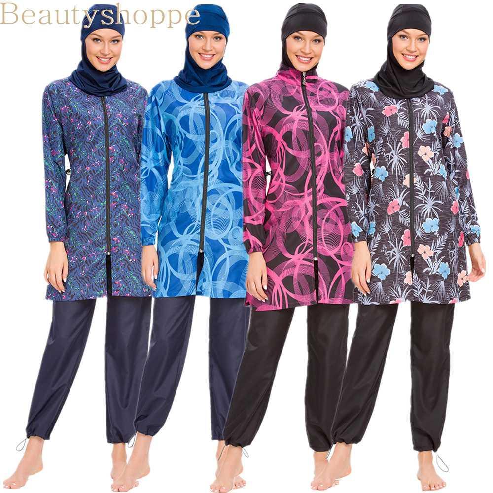 Swimwear musulmano delle donne Modest Patchwork Hijab maniche lunghe sport del costume da bagno islamici Muslimah burkini Wear costume da bagno