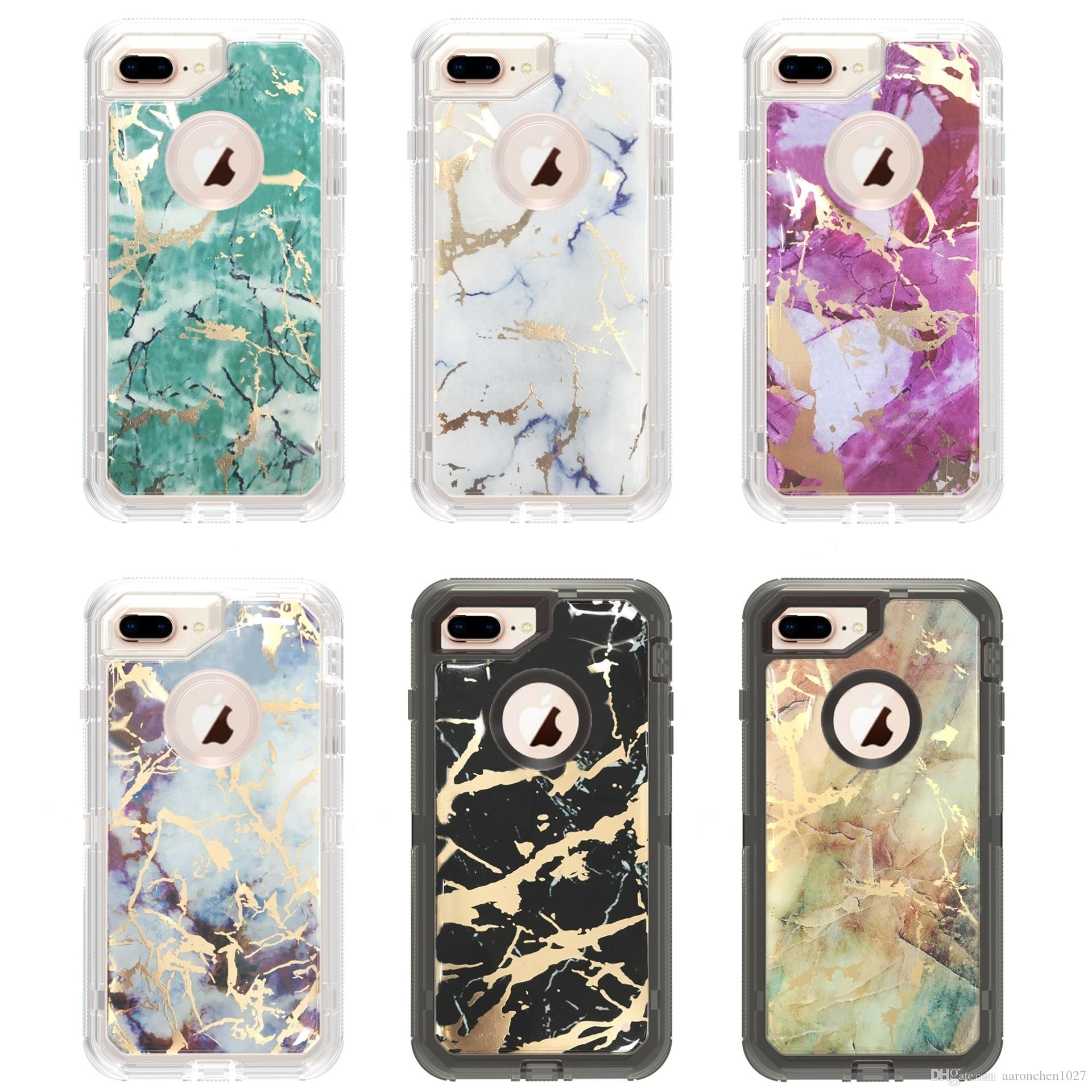Defender Case For Iphone X XS XR Max Case Luxury Marble 3 in 1 Heavy Duty Shockproof Full Body Protective Case For Iphone 6 6s 7 8 Plus