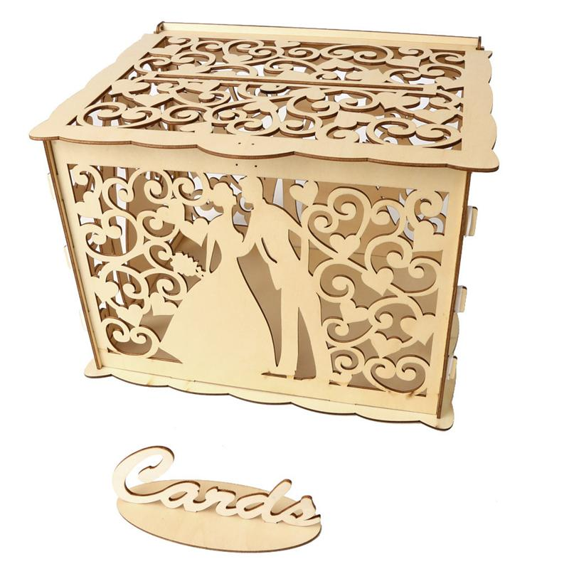 Wooden Wedding Supplies Card Case Yellow Wooden Gift Boxes Wedding Card Box With Lock DIY Money For Birthday Party Decor May23