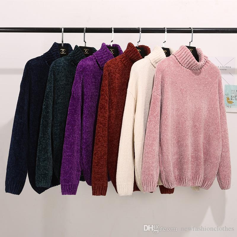 Starke warme Pullover mit Stehkragen in Über Chenille Pullover Frauen Langarm Winter Herbst lose Pullover Damen Causal Tops Pull Femme