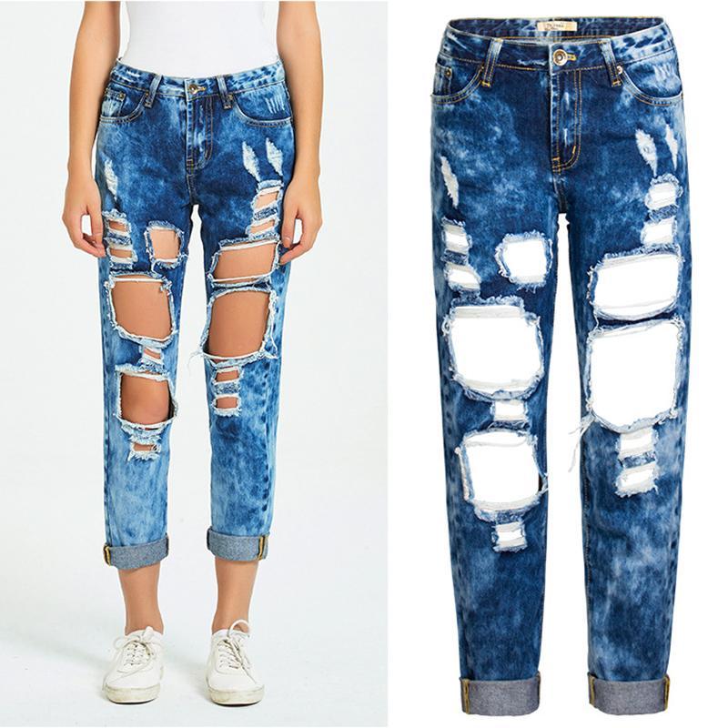 Femmes Trou Ripped Jeans boyfriend loose Casual Jeans pour les femmes en coton pur Distressed Denim Vintage Blanchi PANTALON 2020