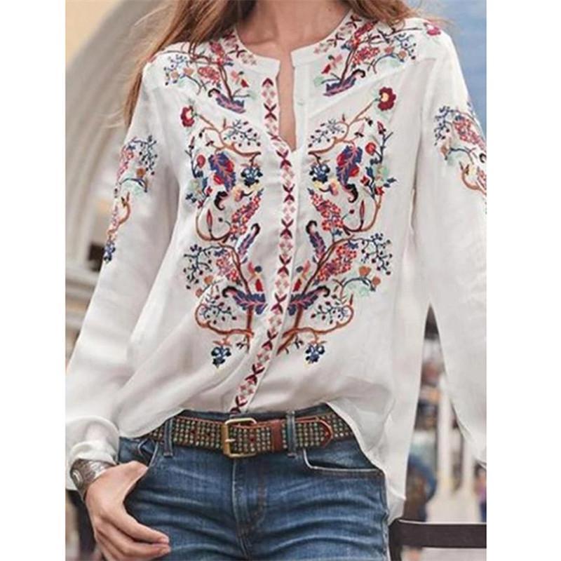 Tasarımcı Bluzlar Uzun kollu Bahar Standı Yaka Gömlek Tek Breasted Çiçek Kadın Saf Renk Giyim Baskı kadın