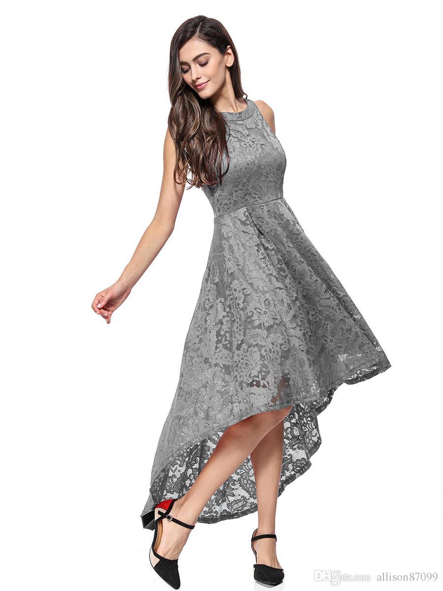 Compre Verano Elegante Vestido De Encaje De Moda Fiesta De Cola Vestidos De Noche Sin Mangas Boutique China Ropa De Mujer Fabricante 2019 Venta