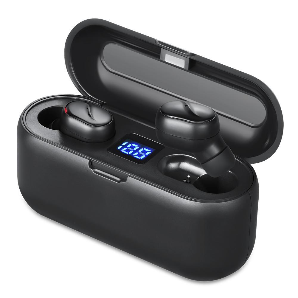 بلوتوث 5.0 سماعات ستيريو البسيطة صحيح اللاسلكية سماعات الأذن سماعة ستيريو سماعة الرياضة مع شاشة بنك بطارية 2000mAh الطاقة LED