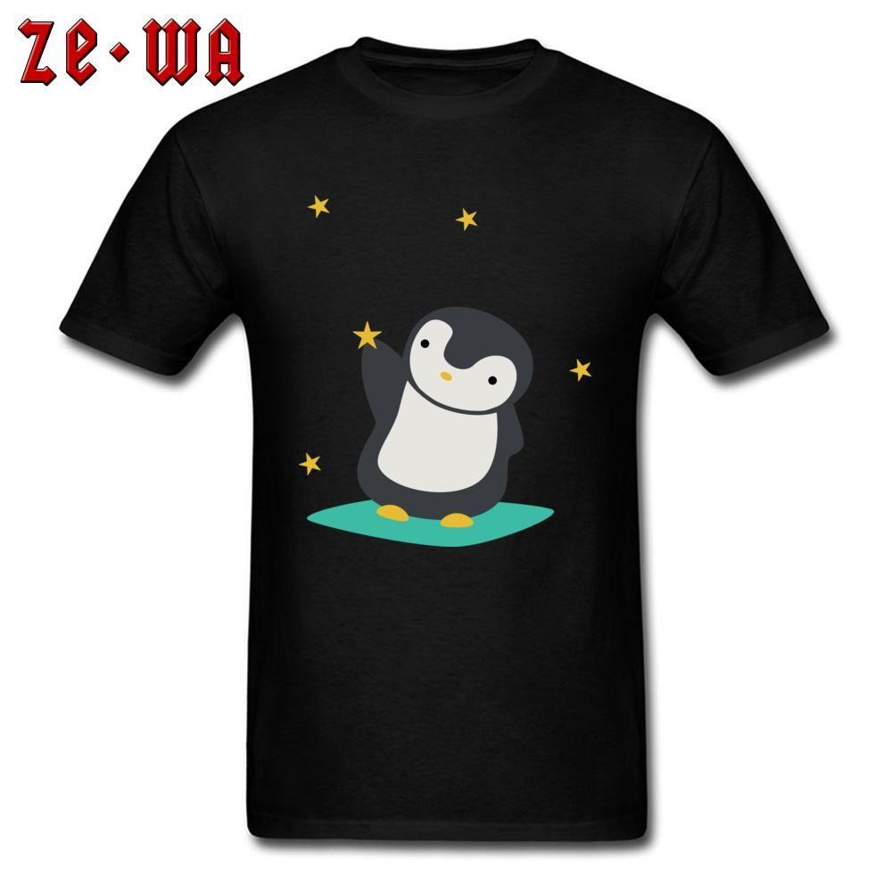 T-shirt des hommes cadeau T-shirt Kawaii mignon des hommes T-shirts Pingouin Attraper jeunes étoiles T-shirts Société Vêtements personnalisés Cartoon Hauts Noir