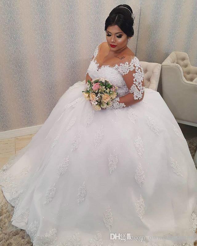 Tamaño más 2020 apliques playa vestido de novia de encaje con cuello en V vestidos de novia al aire libre de manga larga vestidos de boda Vestidos de novia