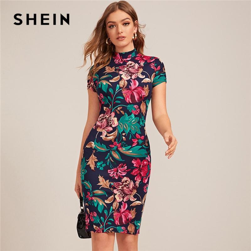 Shein Multicolor Mock-Collo su misura stampa floreale del vestito dalle donne della molla del manicotto della protezione Bodycon eleganti vestiti dalla matita Midi