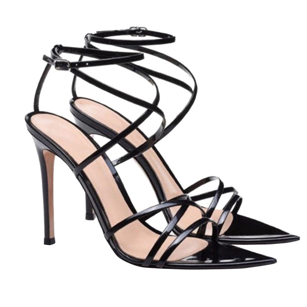 Kolnoo Sexy Damen High Heel Sandaletten OfficeCareer Kleid Schuhe Cross Gürtelschnalle Straps elegante Zehen Fashion Club Tanz Sandalen BFCM Schuhe D272