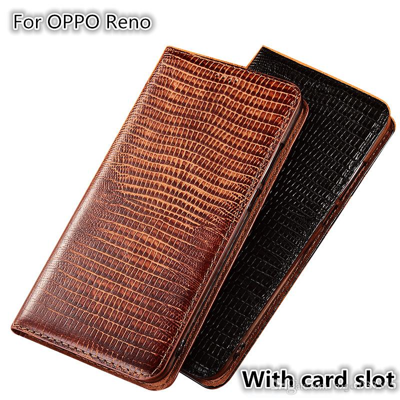 QX08 Lizard Pattern Genuine Leather Magnetic Phone Case For OPPO Reno Flip Case For OPPO Reno Phone Bag Card Slot