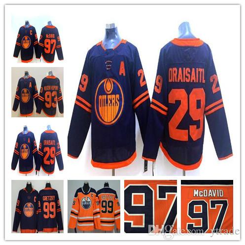 Nuevo 93 Ryan Nugent-Hopkins Edmonton Oilers Jersey 2020 Tercer azul Jersey 97 Connor McDavid 27 Milano Lucic 29 Leon Draisaitl 99 Wayne Gretzky