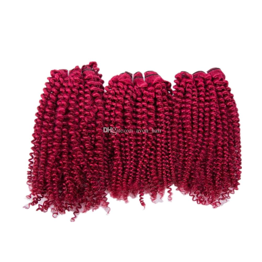 Burgundy Color Malaysian Virgin Human Hair Weves Extensions 3Pcs Pure Color Burgundy Arro Curly 100% Human Hair Wefts 3Bundles Free Shipping
