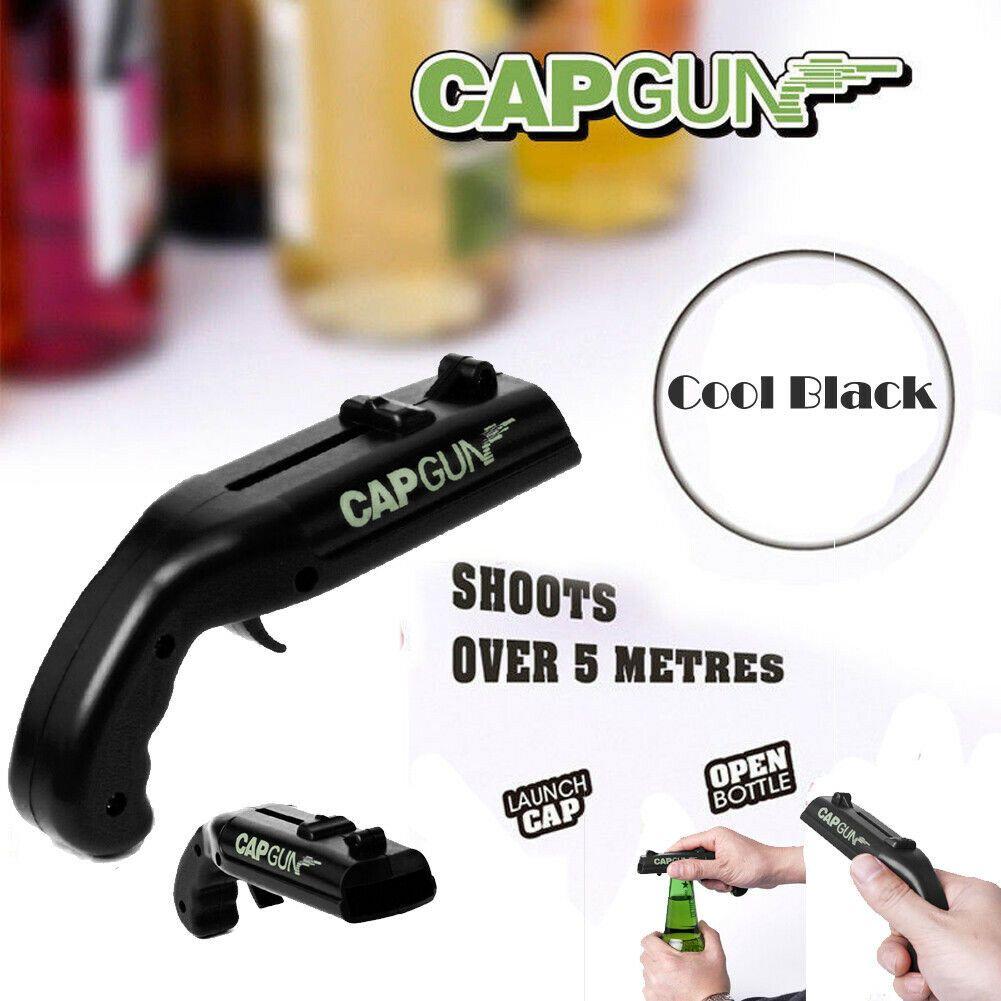 Black Cap Gun Launcher Shooter Abridor de garrafas Abridor de cerveja Atire mais de 5 metros