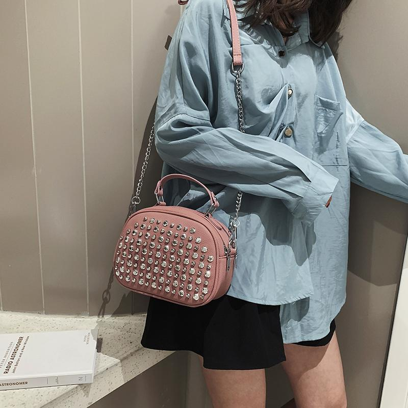 Frauen-Handtaschen-Marke Luxus-Leder-Flash-Diamant-weibliche Beutel 2019 neue koreanische Art-Frauen Solid Color Schultertasche Sac Haupt Femme