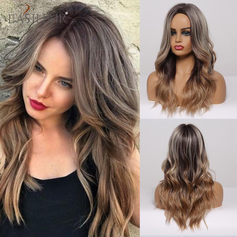 EASIHAIR Длинные Ombre Серый Коричневый Волнистые париков Highlight волна воды средняя часть Синтетический Cosplay жаропрочных парики волос для женщин