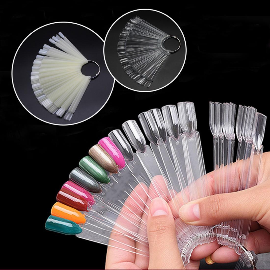 Natural / Sereno punte false del chiodo tabellone a forma di ventaglio acrilico UV polacco di carte a colori del manicure Strumenti Nail pratica artistica