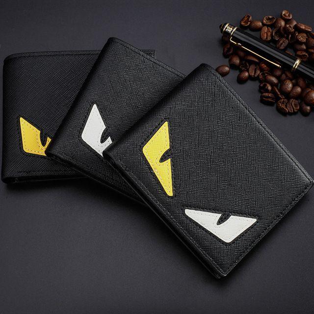 High-quality pu leather fashion short wallet men's designer card wallets pocket bag European style brand double-eyes purses