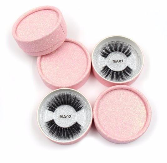 Eyelashes 3d Silk Fibroin Transparent Plastic False Eyelashes Natural Long Dramatic False Lashes Pink Round Glitter Box