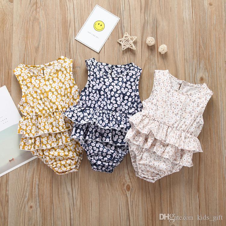 Romper do bebê de verão meninas bebê impressão floral romper ternos crianças ins flor sem mangas macacão triângulo bebê recém-nascido menina roupas FJ102