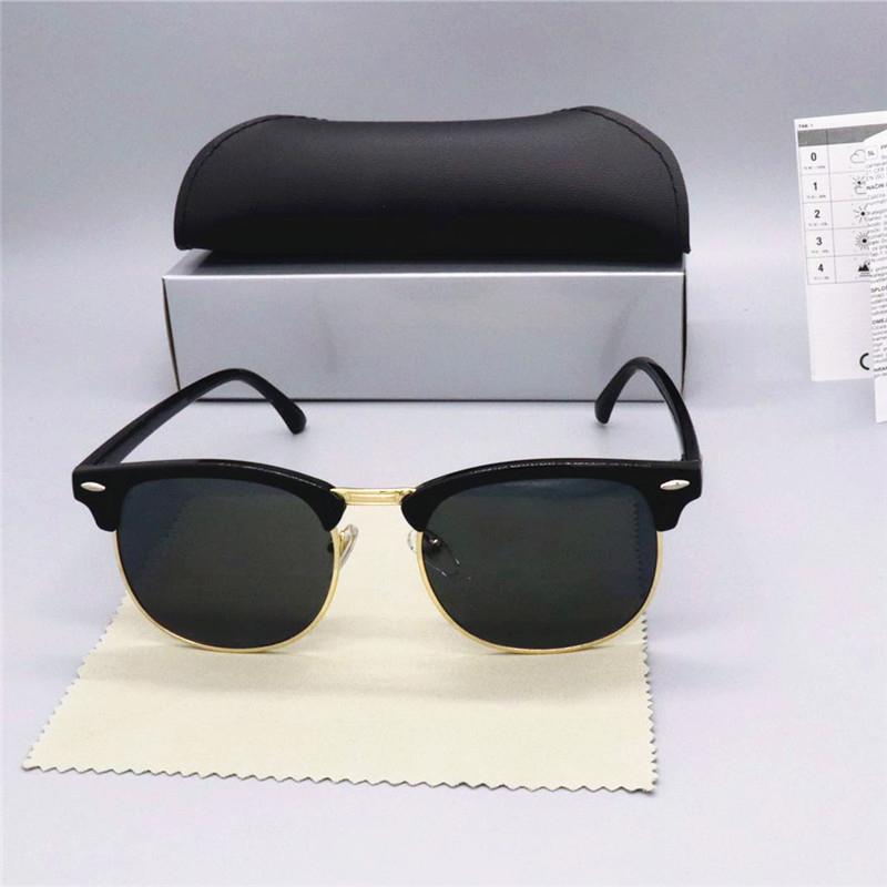 Marka Tasarım Klasik Polarize Güneş Gözlüğü Erkekler Kadınlar Pilot Güneş gözlüğü UV400 Gözlük kutusu Gözlük Yarım çerçeve Polaroid Lens Yasakladı