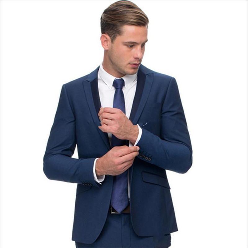 새로운 한섬 원 버튼 블루 웨딩 신랑 턱시도 피크 옷깃 Groomsmen 남성 복장 댄스 파티 재킷 (자켓 + 바지 + 넥타이) 271