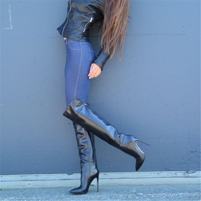 Les nouvelles femmes noir super hauts talons Cuissardes Bottes bout pointu Plus de Bottes genou Sexy Lady Stiletto Femmes Long 43