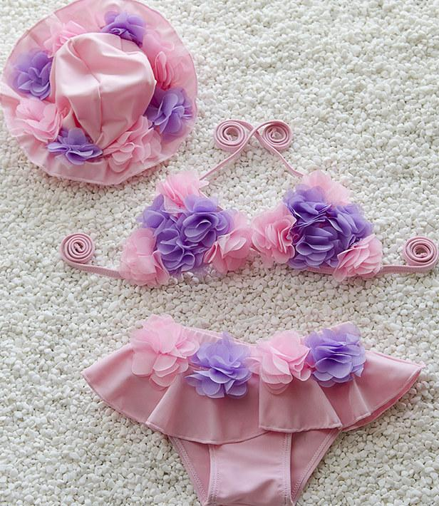لطيف الطفل الفتيات الصغير بيكيني المايوه الفتيات ملابس السباحة الأزهار طفلة قطعتين يناسب الأطفال