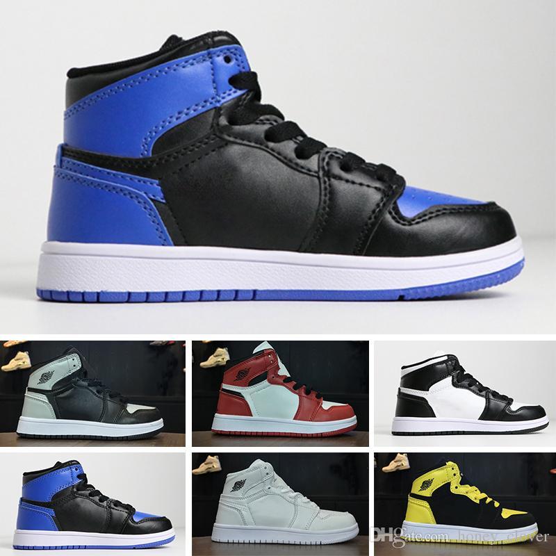 Nike air jordan 1 retro 최고 품질 J 1 1s 어린이 농구 신발 소년 소녀 어린이 Babys Skateboar 스 니 커 즈 야외 캐주얼 스포츠 운동 화 크기 28-35