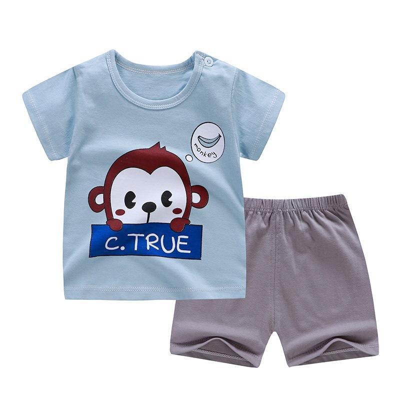 3M-6T طفل بنين بنات 2PCS / SET 100٪ القطن قصير كم T-shirtpants نمط القرد الكرتون الحيوان القمم INFANTIL الزي عارضة
