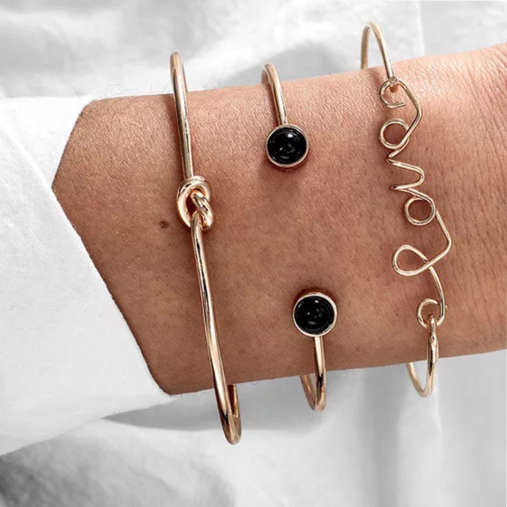 S1091 Hot Moda Jóias Bangle Bracelet Set nó de amor Círculo Aberto Vintage 3pcs / set pulseiras