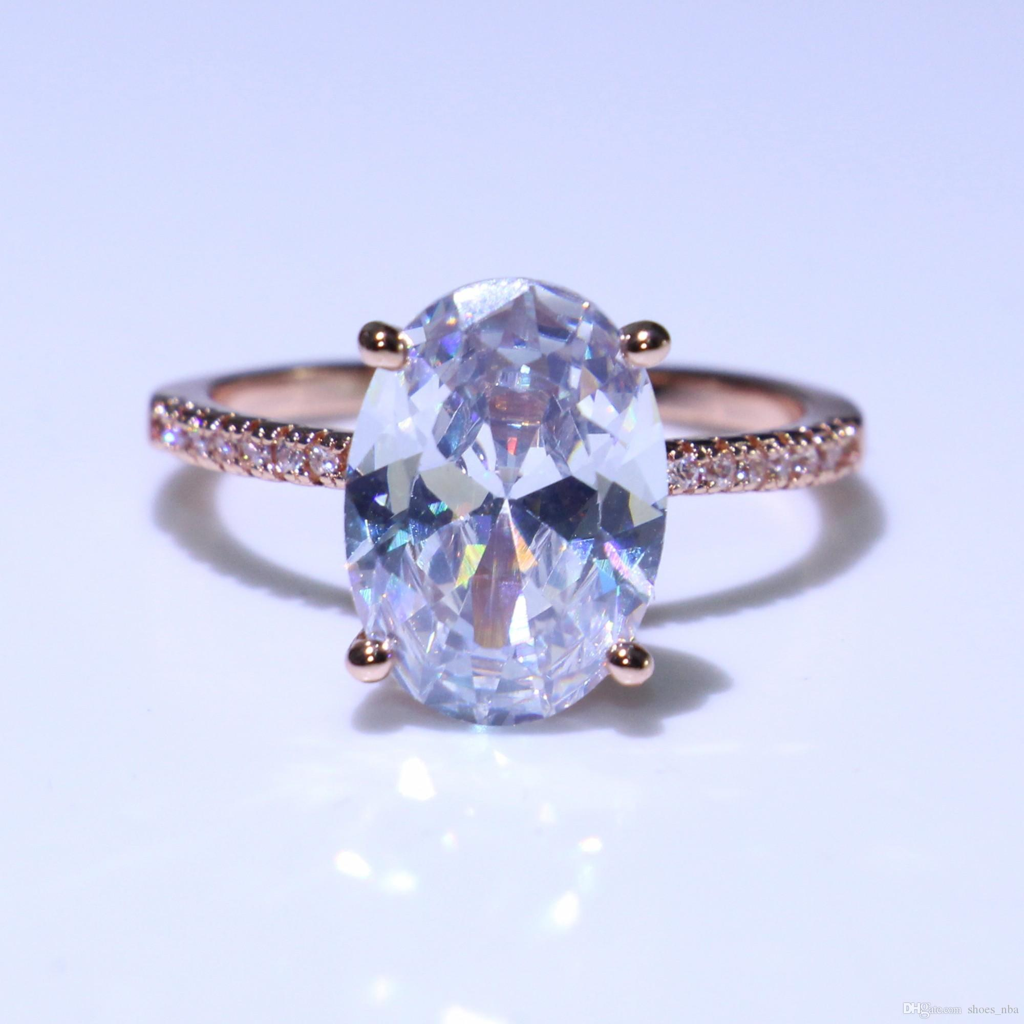 Luxury Oval Cut White Sapphire CZ Promise Wedding Ring 925 Silver Womens Jewelry