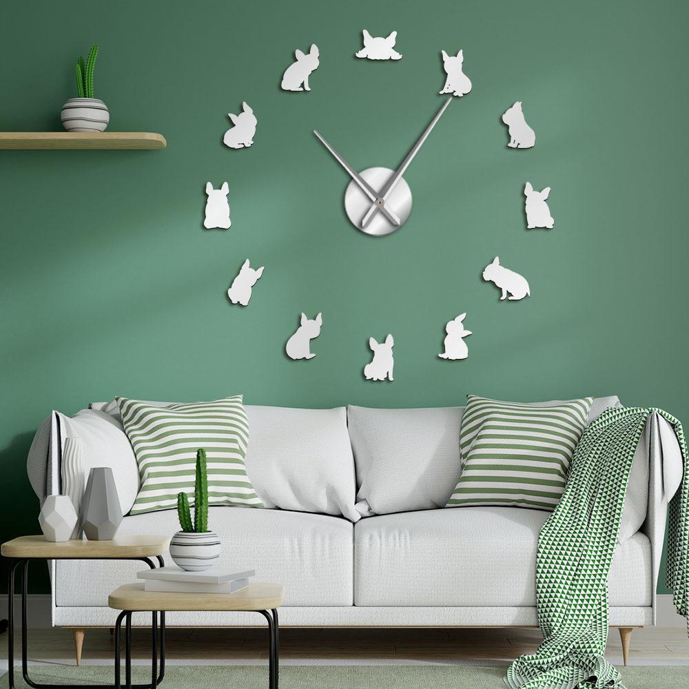 프랑스 불독 DIY 거대한 벽 시계 프랑스 국내 개 대형 현대 벽 시계 프렌치 벽 시계 국방부 품종 개 애인 선물 T200601