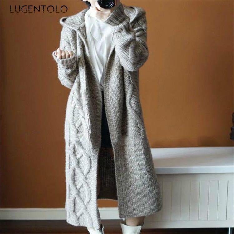 Lugentolo mujeres suéter Cardigan Otoño Invierno de manga larga con capucha de invierno Nuevo color sólido flojo de Corea acogedor de señora Long suéteres CJ191220